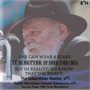 Lubavitch Rebbe on the Wig Sheitel