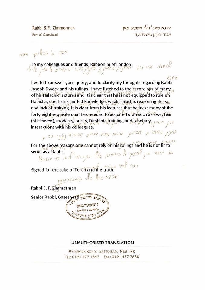 yosef dweck gateshead ruling